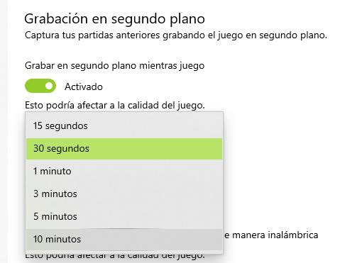Grabación Segundo plano Windows 10