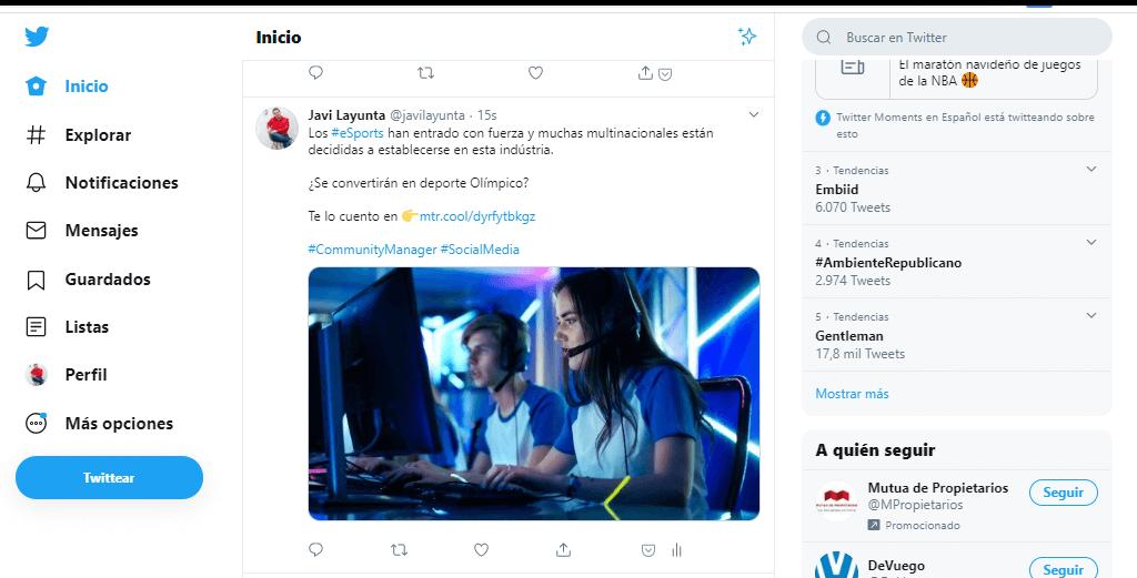 Interfaz actual de Twitter